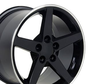 18x10 5 Black C6 Wheels Set of 2 Rear Rims Fit Camaro SS Firebird