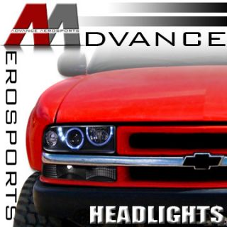 JDM Blk 2x Halo 3x LED Projector Head Lights Lamps 98 04 S10 Pickup 98