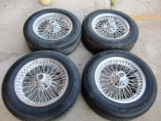 SET OF 16 INCH DAYTON WIRE WHEELS 225 60 16 DRY TIRES CENTER CAPS