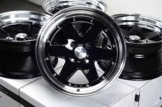15x8 Effect Wheels Rims 4x100 Black 0mm offset Civic Corolla Cobalt