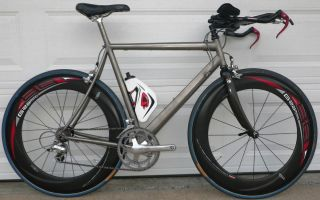 bike triathlon, titanium frame, dura ace, ultegra, carbon tubular rim