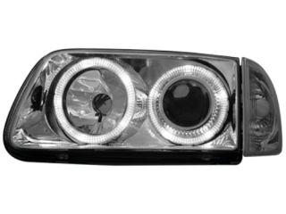 VW Polo 6N2 1999 2001 Halo Rims Headlights Head Lights Clear Chrome