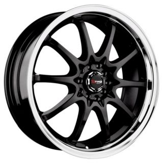 17 Drag Wheels DR9 Rims 4 Lugs Gloss Black Wheel 17x7