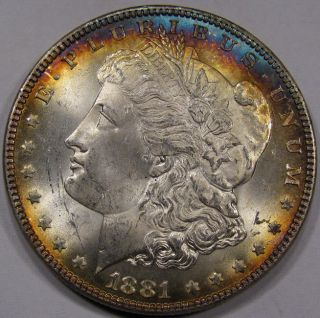 Dollar UNC Superb Gem BU Plus Deep Blue Gold Rim Tone Nice