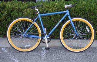Bike Fixie Bike Road Bicycle 48cm Blue w Deep 43mm Orange Rims