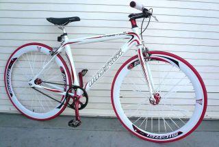 Alloy Road Bike 48 cm w Deep 50cm Rim Flat Bladed Spokes White
