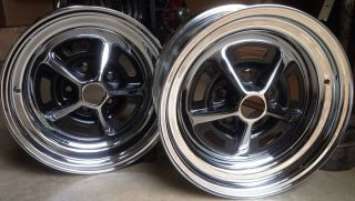 Centered Restored Ford Mopar Magnum 500 Chrome Wheels Set of 2