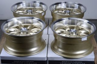 15 4x100 Gold Rims Mini Civic Integra Escort Jetta Low Offset CRX 4