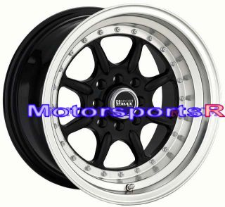 15 15x8 XXR 002 Black Rims Deep Dish Step Lip Wheels 4x100 Stance