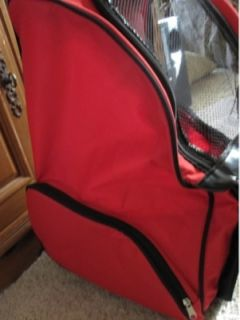 Pet Small Dog Backpack Tote Carrier Wheels Luggage Bed Red Economical