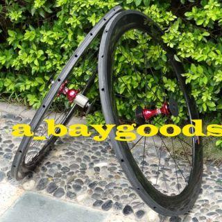 Carbon 700c Road Bike Tubular Wheelset Rim Red Hub Spoke 50mm