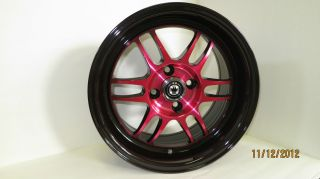 Wideopen 15x8 et20 4x100 exclusive jdm Candy Red w Black wheel rim new