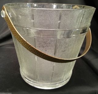 Antique Bryce Higbee U s Pressed Glass Wooden Pail Ice Bucket Spooner