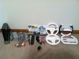 Wii Black Console Mario Kart 4 Steering Wheels Component Cable Bundle