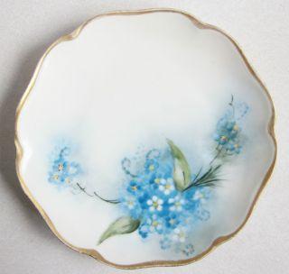 Selb Bavaria 6 inch Plate Blue White Flowers Gold Rim VG Cond