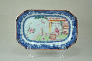 Beautiful Chinese 18c Famille Rose Figural Platter Qianlong