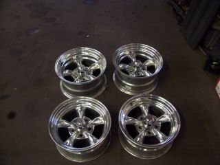 Racing Torq Thrust II Staggered 15x7 15x8 Polished Rim Set 5x4 75
