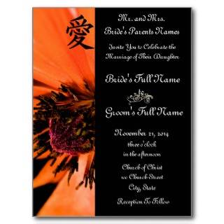 Orange Poppies Wedding Invitations and Favors Post Cards