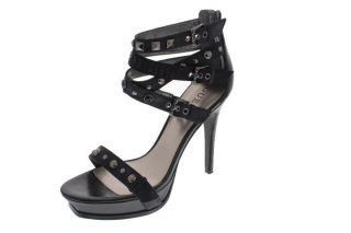 Guess New Kenvil Black Leather Studded Platform Strappy Sandals Heels