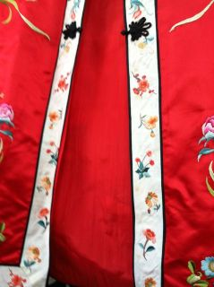 Vtg Red 50s Excellent Satin Stitch Chinese Embroidered Export Coat