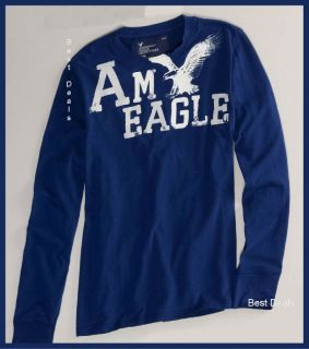 American Eagle Mens AE Signature Long Sleeve T Shirt Blue New Free