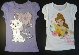 Disney Girls Belle or Marie The Cat Short Sleeve T Shirt Size 5 6 6X
