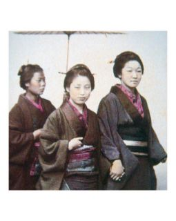 Young Japanese Women in Kimono Photographic Print by Felice Beato