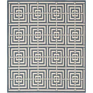 Safavieh Geometric Indoor/outdoor Courtyard Navy/beige Rug (9 X 12)