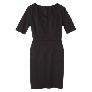 Merona Womens Ponte V Neck Dress   Black   M