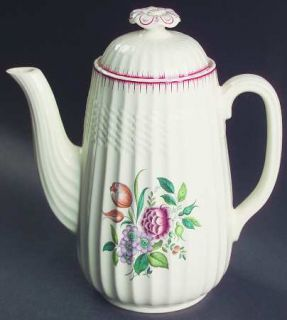 Spode French Flowers Coffee Pot & Lid, Fine China Dinnerware   Red Border Design