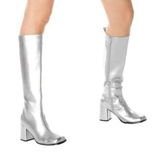 Silver Gogo Boots Adult   6.0