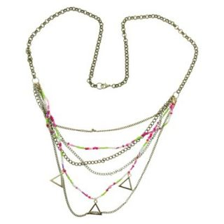 Womens 30 Chain with Seed Beads and Triangle Drop Necklace   Gold/Multicolor