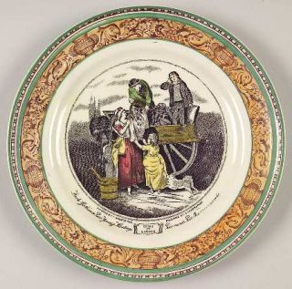 Adams China Cries Of London (Green & Brown Rim) Bread & Butter Plate, Fine China