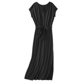 Merona Womens Knit V Neck T Shirt Maxi Dress   Black   S