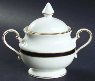 Mikasa Black Tie Sugar Bowl Lid Fine China Dinnerware Black Band Gold Trim