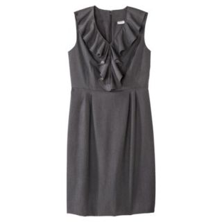 Merona Womens Twill Ruffle Neck Dress   Heather Gray   8