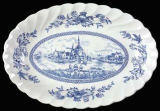 Johnson Brothers Tulip Time Blue (White Background) Relish/Gravy Underplate, Fin