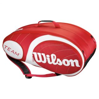 Wilson Team 9 Pack Tennis Bag Red and White