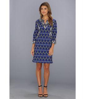 Donna Morgan Cotton Linen 3/4 Sleeve Shift Womens Dress (Blue)