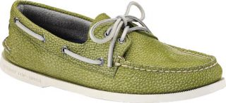 Mens Sperry Top Sider A/O 2 Eye Washed   Lime Full Grain Leather Sailing Shoes