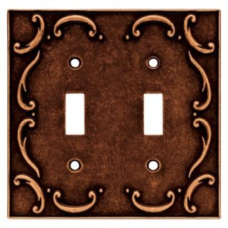 Brainerd French Lace Double Switch Wall Plate   Sponged Copper