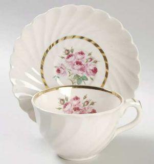 Newport Allison Flat Cup & Saucer Set, Fine China Dinnerware   Pink Floral Cente