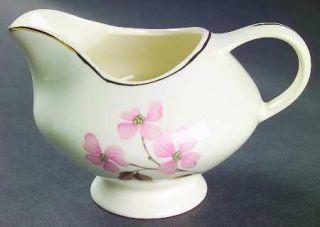 Edwin Knowles Pink Dogwood (Gold Trim) Creamer, Fine China Dinnerware   Designed