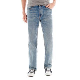 ARIZONA Original Straight Medium Crinkle Wash Jeans, Medium Stone, Mens