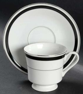 Montgomery Ward Courier Footed Cup & Saucer Set, Fine China Dinnerware   Black B