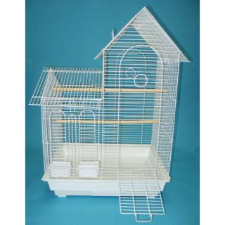 YML Villa Top Small  Bird Cage with 2 Feeder Doors 1944 Color White
