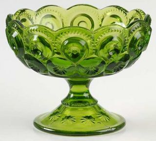 Smith Glass  Moon & Star Green Candleholder/Compote   Dark Green