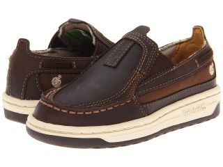 Timberland Kids Ryan Springs Leather and Fabric Slip On Boat Boys Shoes (Brown)