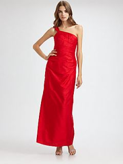 Kay Unger Asymmetrical Silk Gown   Red