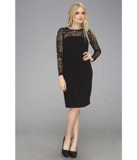 Donna Morgan Fitted Sheath L/S Yoke Lace Illusion Dress Womens Dress (Black)